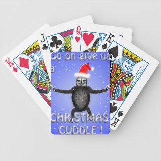 sloth wants a christmas cuddle poker deck