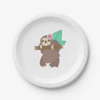 Sloth With Flower Digital Illustration Paper Plate