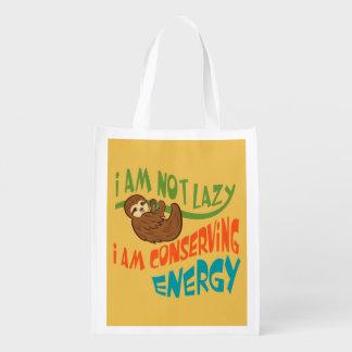 Sloth with saying reusable grocery bag