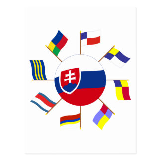 Slovak Flags Pinwheel Postcard