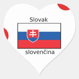 Slovak Language And Slovakia Flag Design Heart Sticker