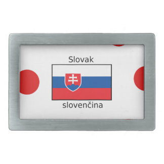 Slovak Language And Slovakia Flag Design Rectangular Belt Buckles