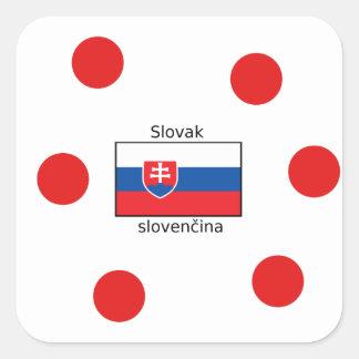 Slovak Language And Slovakia Flag Design Square Sticker