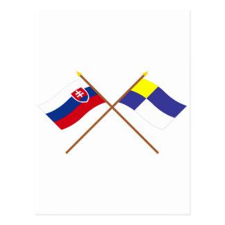 Slovakia and Bratislava Crossed Flags Postcard
