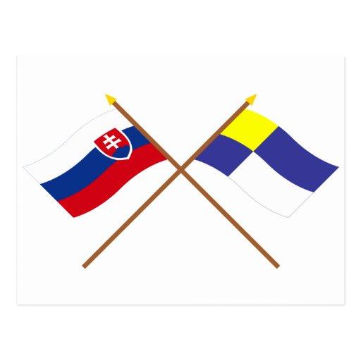 Slovakia and Bratislava Crossed Flags Post Card