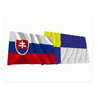 Slovakia and Bratislava Waving Flags Post Card