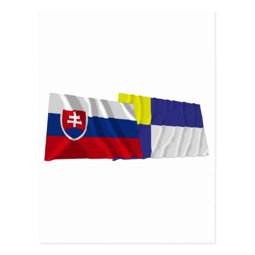 Slovakia and Bratislava Waving Flags Postcards