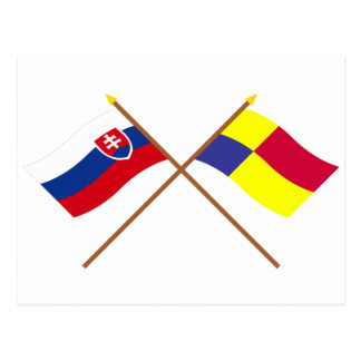 Slovakia and Kosice Crossed Flags Postcard