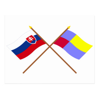 Slovakia and Nitra Crossed Flags Postcards