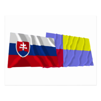 Slovakia and Nitra Waving Flags Postcards