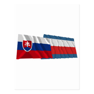Slovakia and Trencin Waving Flags Postcard