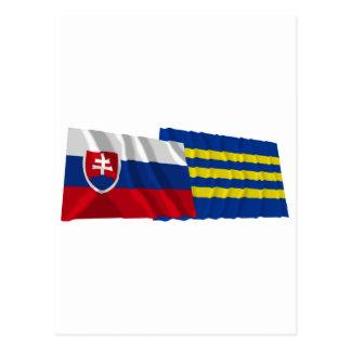 Slovakia and Trnava Waving Flags Postcard