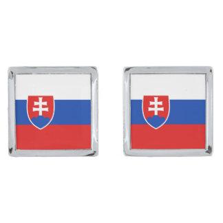Slovakia Flag Cufflinks Silver Finish Cuff Links