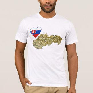 Slovakia Flag Heart and Map T-Shirt