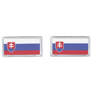 Slovakia Flag Silver Finish Cuff Links