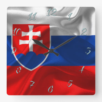 Slovakia flag square wall clock