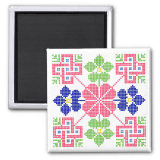 slovakia folk motif symbol traditional ethnic geom square magnet
