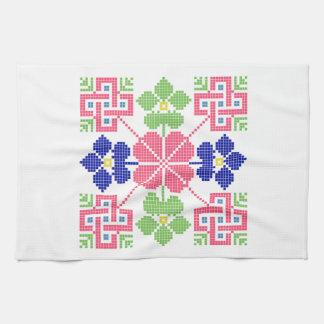 slovakia folk motif symbol traditional ethnic geom tea towel
