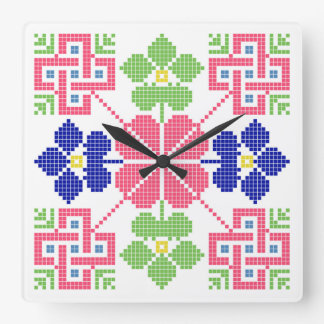 slovakia folk motif symbol traditional ethnic geom wallclock
