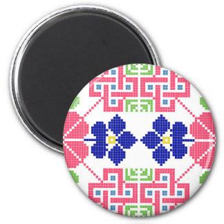 slovakia folk pattern motif traditional ethnic sym 6 cm round magnet