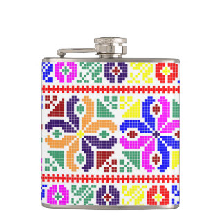 slovakia folk pattern motif traditional ethnic sym hip flask