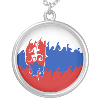 Slovakia Gnarly Flag Round Pendant Necklace