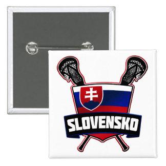 Slovakia Slovensko Lacrosse Pin