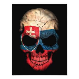 Slovakian Flag Skull on Black Personalized Invitation