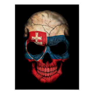 Slovakian Flag Skull on Black Poster