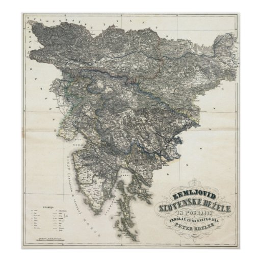Slovenia 1848 Historic Map Print