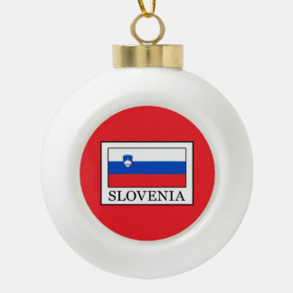 Slovenia Ceramic Ball Christmas Ornament