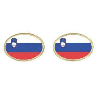 Slovenia Flag Gold Finish Cufflinks