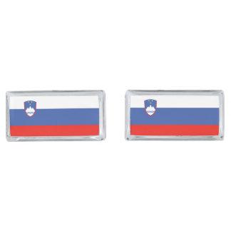 Slovenia Flag Silver Finish Cufflinks