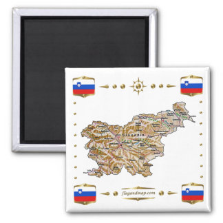 Slovenia Map + Flags Magnet