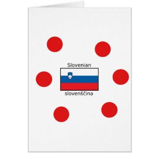 Slovenian Language And Slovenia Flag Design Card