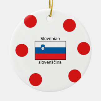 Slovenian Language And Slovenia Flag Design Ceramic Ornament