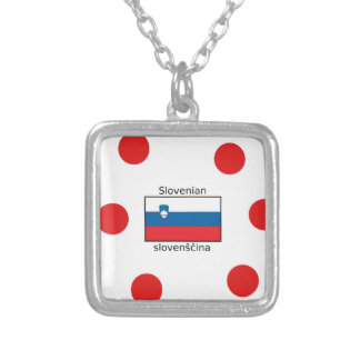 Slovenian Language And Slovenia Flag Design Silver Plated Necklace