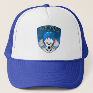 Slovenija shield emblem in light blue explosion trucker hat
