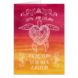 Slow and Steady Turtle Love-Funny Valentine Card