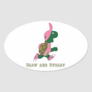 Slow and Steady Turtle Oval Sticker