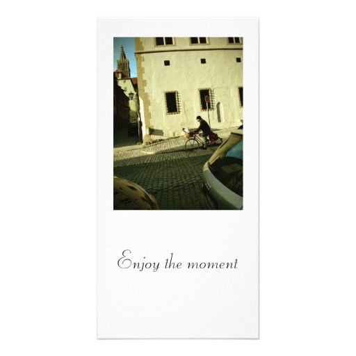 Slow bike riding with your dog photo card