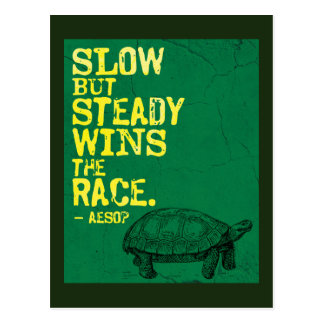 SLOW BUT STEADY WINS THE RACE  Aesop Postcard