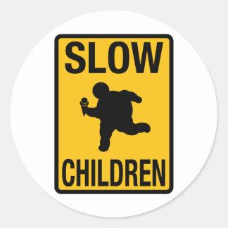 Slow Children fat kid street sign parody funny Sticker