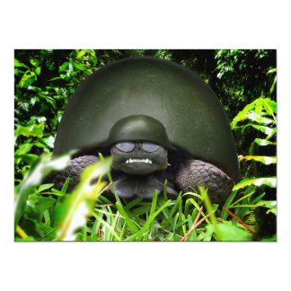 Slow Commando - Army Turtle 14 Cm X 19 Cm Invitation Card