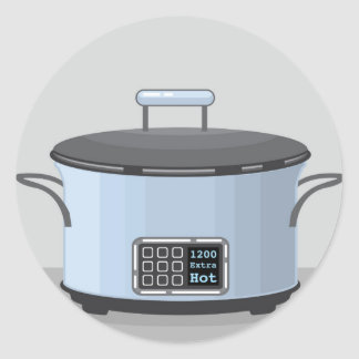 Slow cooking crock pot vector classic round sticker