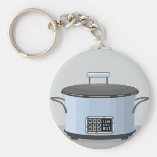 Slow cooking crock pot vector key ring