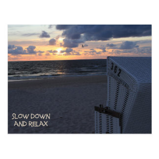 Slow down and relax - beach beach sunset postcard