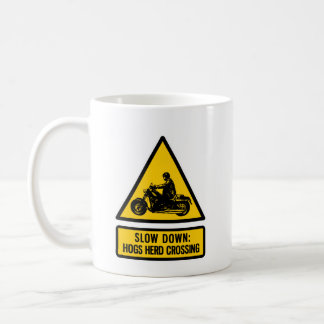 Slow down: hogs herd crossing coffee mug