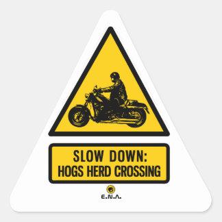 Slow down: hogs herd crossing triangle sticker