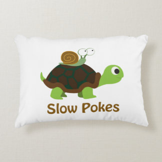Slow Pokes Cute Turtle and Snail Decorative Cushion